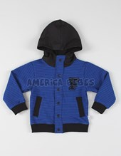 Campera bebe universitaria frisa rayada c/capucha. Colores surtidos. Facheritos.