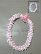 Vincha para bautismo con aplique flor. Colores rosa y blanco.