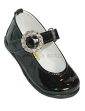 A815 Zapato  con aplique.  Negro. Pepes bebes.