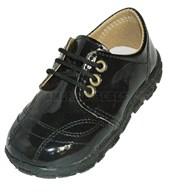 A854 Zapato charolado de varón con cordones. Negro. Pepes bebes.