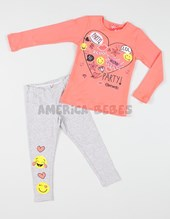 Pijama nena remera interlock c/collareta. Calza alg c/lycra estampado. Elemento.