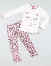 Pijama nena remera interlock c/collareta estampado. Pant recto estampado. Elemento.