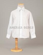 Camisa M/L con fantasía (labrada) blanca. rutilante