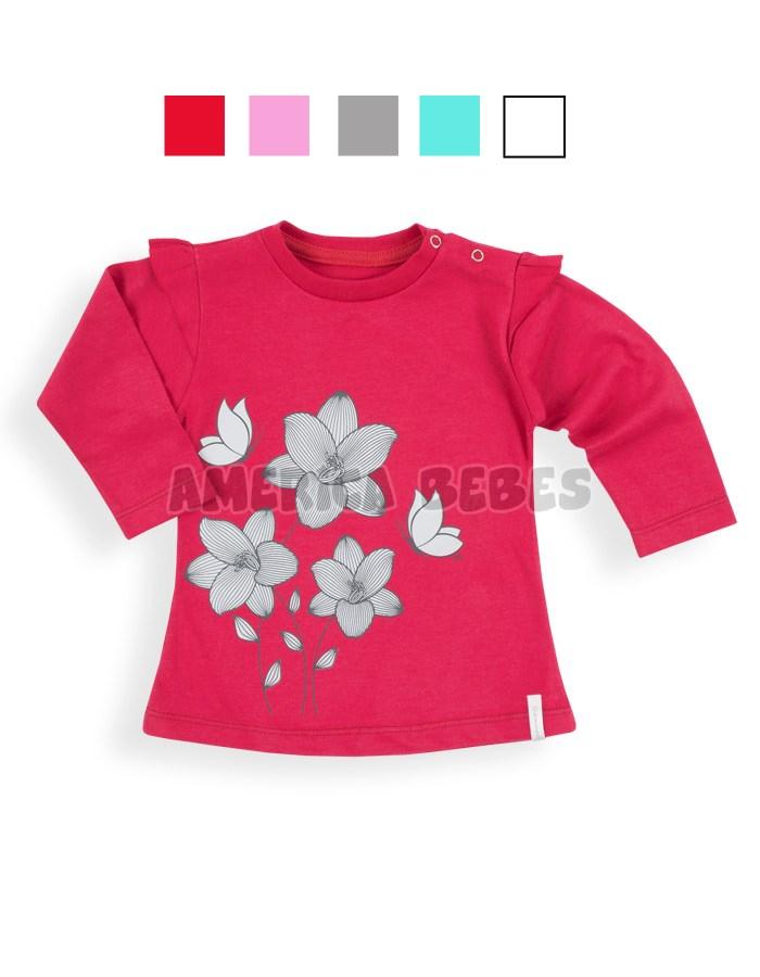 Remera nena color c/estampa flores y manga volado. Colores surtidos.  Baby Cheito.