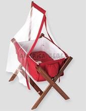 Catre Rojo c/ tul y portatul. Medidas: 80x58x80 ( largo, ancho y alto) Pilim