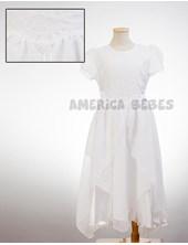 Vestido comunion pollera petalos canesu bordado. Maria Lorena.