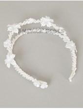 Tiara doble perla con flores aplicadas. Comunion.
