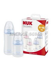 Set de 2 Mamaderas. Celeste 150 y 300 ml  First Choice +. Nuk.