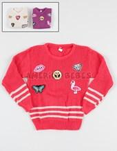 Sweater redondo nena con escudos bordados. Colores surtidos. Fernando.