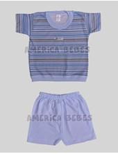 Pijama M/C  rayado con short. Gamise.