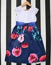 Vestido niña azul florones. Varsity.