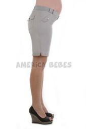 Bermuda gabardina con tapitas embarazada. Que Sera?