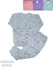 Pijama bebe 2 piezas con estampado Buho. Colores surtidos. Naranjo.