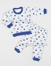 Pijama Bebe estampado autitos. Naranjo.