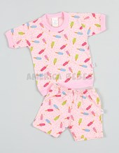 Pijama beba M/C estampado. Naranjo.
