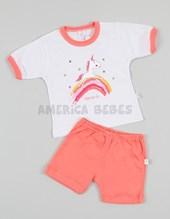 Pijama estampado Remera m/c y short Nena.Colores surtidos. Naranjo.
