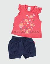 Conjunto nena Remera c/volados y short. Colores surtidos. Premium.