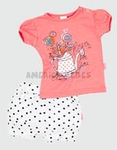 Conjunto nena Remera c/short Lunares. Colores surtidos. Premium.