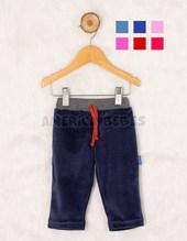 Pantalon con puño combinado plush. Colores surtidos. Premium Only Baby.