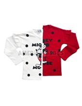 Remera M/L Mickey estampada con voladitos en los hombros. Colores surtidos. Disney Licencia.