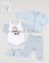 Caja regalo: Set 4 piezas body, cardigan pantalon y escarpin. Baby Skin.