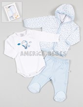 Caja regalo: Set 3 piezas Pima. Body, cardigan, ranita. Baby Skin.