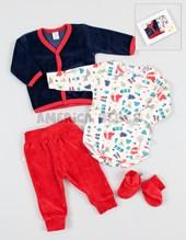 Set de regalo en CAJA 4 piezas cardingan body pantalon escarpin..Baby Skin.