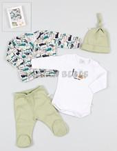 Set de regalo en CAJA 4 piezas cardigan body ranita gorrito.Baby Skin.