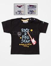 Remera M/C bebe jersey estampa rock and roll star. Colores surtidos. Pat-us.