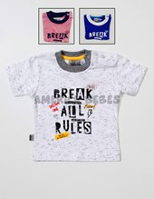 Remera bebe M/C jersey estampa break all rules. Colores surtidos. Pat-us.