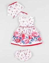 Vestido en poplin c/guarda rosas c/ pestañon bandana. Creaciones Nora.