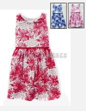 Vestido en algodon estampadado Flores con pompom en cintura. Colores surtidos. Creaciones Nora.