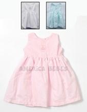 Vestido beba S/M en voile estampado Puntille c/pollera en tul y cnta cristal. Colores surtidos. Creaciones Nora.