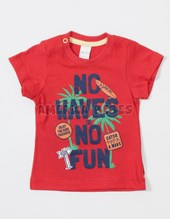 Remera bebe M/C con estampa NO WAVES NO FUN. Colores surtidos. BWay.