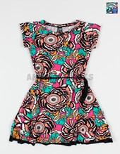 Vestido nena manga corta  modal floreado con volados. Compacto.