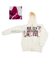 Campera nena c/corderito en capucha. Estampa Madly in Love. Colores surtidos. Compacto.