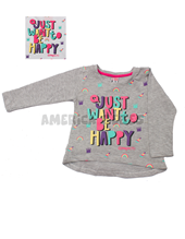 Remera bebe jersey tapacola. Estampa Just want be happy. Colores surtidos. Compacto.