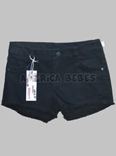 Short de jean negro c/roturas y flecos. Compacto.