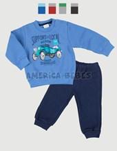 Conjunto B71 bebe varón con estampa auto. Frisal. Colores surtidos. Ruabel.