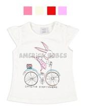 Remera bebé nena con estampa coneja en bici. Colores surtidos. Ruabel.