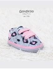 Zapatillas con pintitas grises y cordones rosas. GORDITOO.