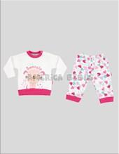 Pijama con puño combinado nena m/l PERRITA CORAZONES. Colores surtidos. Premium only baby