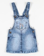 Vestido denim tipo jumper estampado. Facheritos.