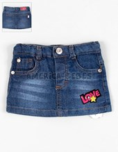 Mini falda beba denim con parche. Facheritos.