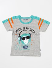 Remera bebe M/C jersey con estampa Music in m,y head. Colores surtidos. Facheritos.
