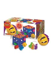 Set de regalo 3 en 1. Cubo Encastre Didactico,  morllos y pelota sonajero. Duravit