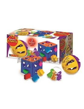 Set de regalo 3 en 1. Cubo Encastre Didactico,morllos y pelota sonajero. Duravit