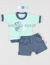 Pijama  Rem m/c y short BB Varon estampado. Colores surtidos. Naranjo.