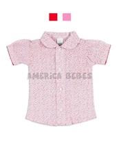 Camisa con frunce M/C beba floreada