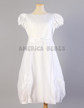 Vestido comunion. Voile drapeado. Maria Lorena.